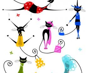 Amusing Christmas cats vector graphics 05