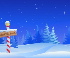 Cartoon Winter Nature background vector 02