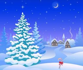 Cartoon Winter Nature background vector 03