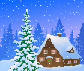 Cartoon Winter Nature background vector 04