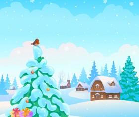 Cartoon Winter Nature background vector 05