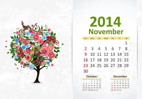 November Calendar Creative November 2014 Calendar Vector