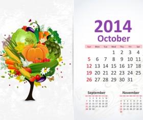 October 2014 Calendar vector