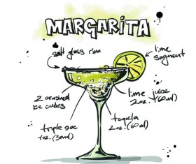 Hand Drawn Cocktails Recipes vector 02