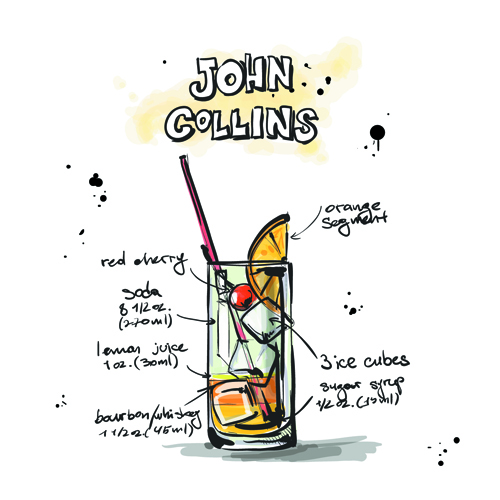 Hand Drawn Cocktails Recipes vector 03 - Vector Food free download