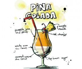 Hand Drawn Cocktails Recipes vector 04