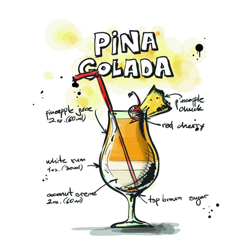 Hand Drawn Cocktails Recipes Vector 04 Vector Food Free