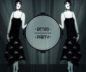 Retro party cover and girl vector 03
