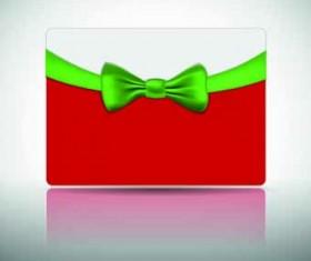 Ribbon Christmas card vector 01
