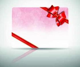 Ribbon Christmas card vector 02