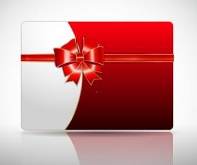 Ribbon Christmas card vector 03