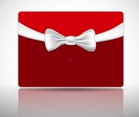 Ribbon Christmas card vector 04