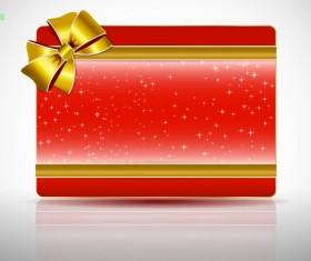 Ribbon Christmas card vector 05