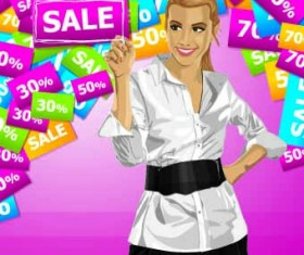 Sale poster with people vector set 02