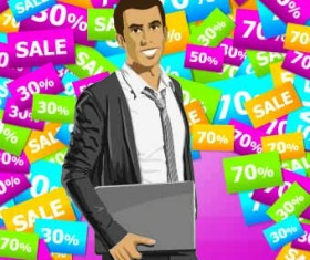 Sale poster with people vector set 04