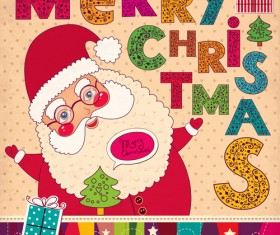 Vintage Cute Santa background vector 01