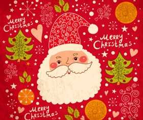 Vintage Cute Santa background vector 02