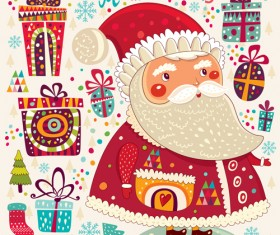 Vintage Cute Santa background vector 04