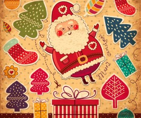 Vintage Cute Santa background vector 05
