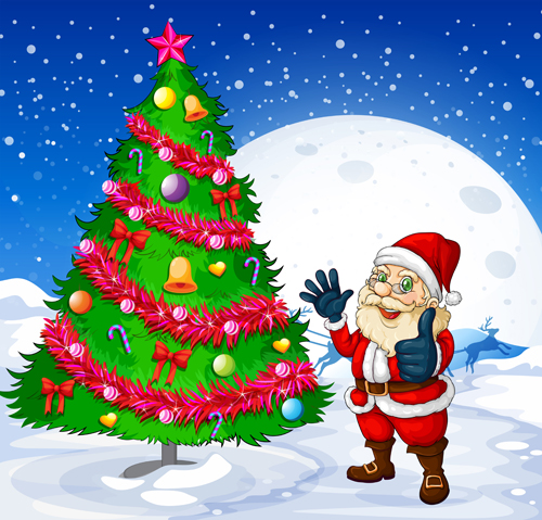 Santa and Christmas tree vector 01 - Vector Christmas, Vector ...