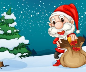 Santa and Christmas tree vector 02