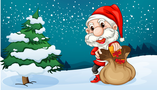 Christmas Festival Cartoon Images.Santa And Christmas Tree Vector 02 Free Download