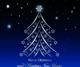 Shiny christmas tree blue new year background