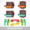 Vintage ribbon with labels vector 03