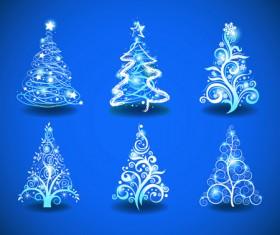 Blue Light Christmas Trees design vector 01