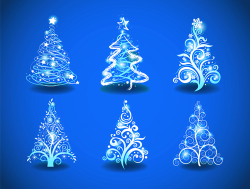 Blue light christmas trees design vector free download