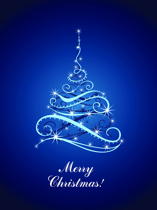 Blue Light Christmas Trees Design Vector 02