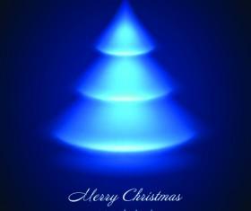 Blue Light Christmas Trees design vector 03