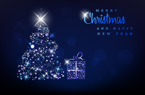 Blue Light Christmas Trees design vector 05
