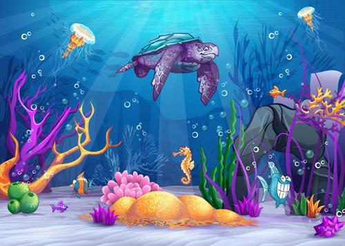 Cartoon Underwater World vectors 01 - Vector Cartoon free ...