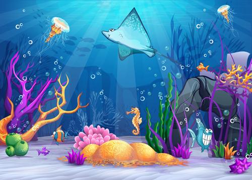 Cartoon Underwater World Vectors 02 Vector Cartoon Free