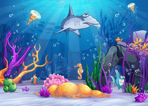 Cartoon Underwater World Vectors 03 Vector Cartoon Free