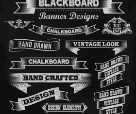 Vintage black and white labels with ornaments vector 01