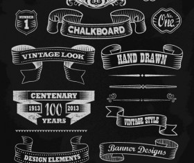 Vintage black and white labels with ornaments vector 02