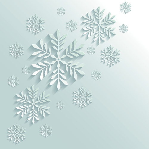 Paper Floral White Christmas Backgrounds Vector 01