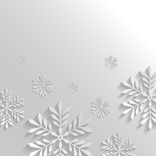 paper floral white christmas backgrounds vector 04