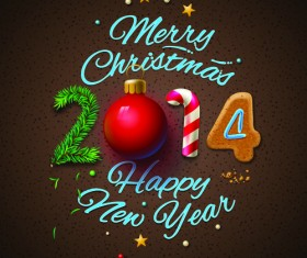 Christmas with 2014 New Year Creative background set 01