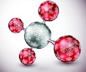 Xmas ball snowflake pattern vector