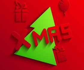 2014 Xmas red background vector set 10