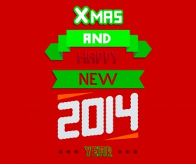 2014 Xmas red background vector set 09