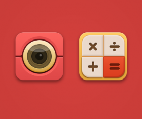 Camera and Calculator psd icons