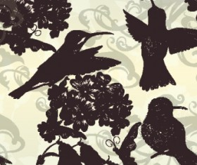 Vintage birds and butterflies design vector 03