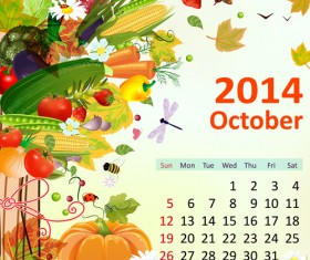 2014 Floral Calendar October vector
