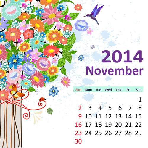 Calendars For The Month of November 2014 2014 Floral Calendar November