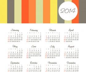 Vector set of 2014 calendar design 01