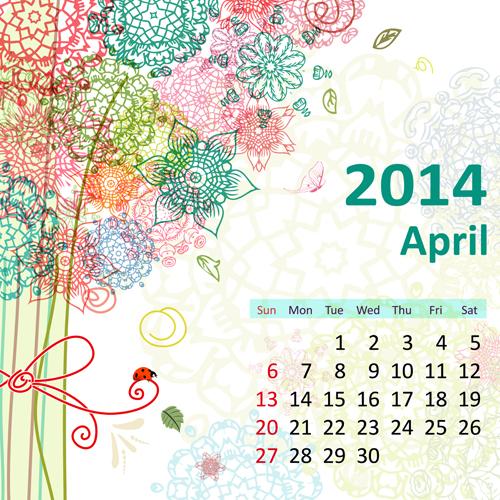 2014 Floral Calendar April vector
